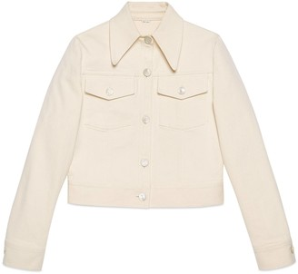 Gucci Washed cotton jacket with label