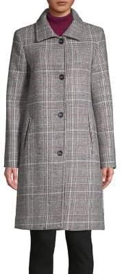 Jones New York Plaid Wool-Blend Coat