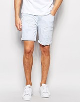 Asos Denim Shorts In Skinny Bleach Wash With Abrasions