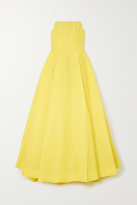 Emilia Wickstead Abigail Strapless Cloque Gown - Yellow
