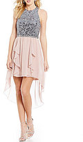 Jodi Kristopher Sequin Lace Bodice Ruffled High-Low Hem Sheath Dress