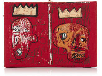 Olympia Le-Tan Olympia Le Tan Basquiat 2 Crowns Appliqued Embroidered Canvas Clutch