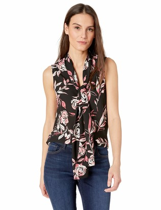 Nine West Women's Sleeveless TIE Neck Printed Crepe Bow Blouse