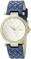 Burgi Women's BUR154BU Yellow Gold Quartz Watch with Swarovski Crystal Accents and Gold Dial With Blue Quilted Satin Strap