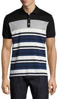 Salvatore Ferragamo Cotton-Silk Piqué; Houndstooth & Striped Polo Shirt with Gancini, Black