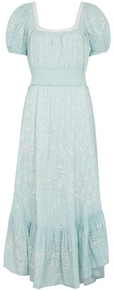 LoveShackFancy Begonia printed and embroidered cotton maxi dress