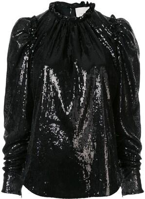 Ingie Paris Sequinned Puff-Sleeve Blouse