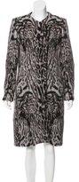 Roberto Cavalli Wool-Blend Leopard Print Coat
