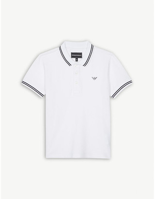 Armani Junior Tipped stretch-cotton polo shirt 4-16 years