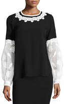 Andrew Gn Embroidered Puff-Sleeve Silk Blouse, Black