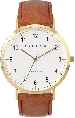 Barrow Petite Watch With Gold Mesh Strap & Tan Leather Strap