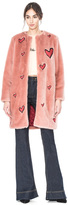 Alice + Olivia Madge Embroidered Faux Fur Long Boxy Coat