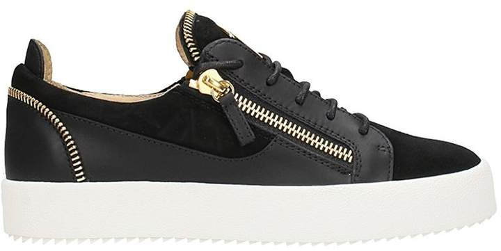 Giuseppe Zanotti Black Leather And Suede Kirk Low Sneakers