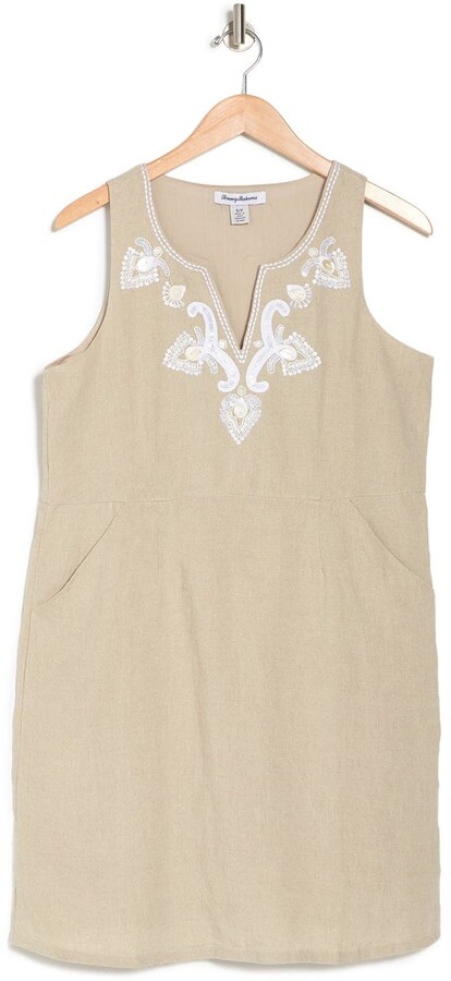 Tommy Bahama Dancing Diamond Embroidered Linen Shift Dress