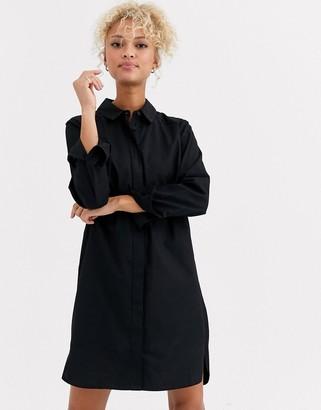ASOS DESIGN cotton mini shirt dress in black
