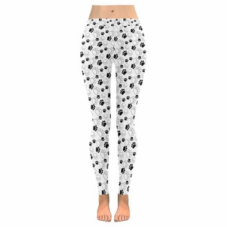 Quemin Mother's Day Gift Yoga Pants for Women Custom Cute Paw Dog Stretchy Capri Leggings Skinny Pants for Yoga Running Pilates Gym L