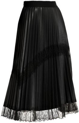 Marina Rinaldi, Plus Size Lace Trim Faux-Leather Pleated Midi Skirt