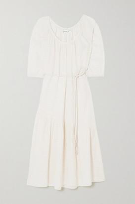 Apiece Apart Matira Belted Checked Cotton-voile Midi Dress - Ecru