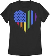 Unbranded Juniors' American Heart Rainbow Flag Pride Graphic Tee