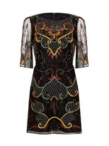 Alice + Olivia Drina Embroidered Bell Sleeve Dress