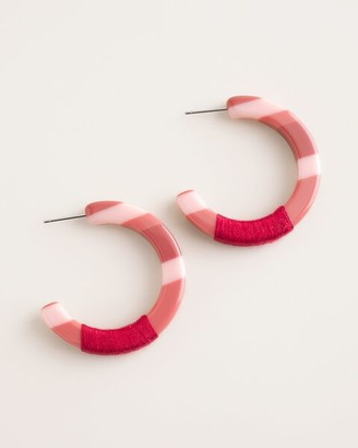 Chico's Berry Pink Striped Hoop Earrings