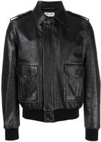 Saint Laurent distressed effect bomber jacket - men - Cotton/Calf Leather/Cupro/Wool - 50