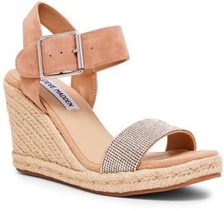 Steve Madden Women's Sandals RHINESTONE - Beige Rhinestone Maya Espadrille Wedge Platform Sandal - Women