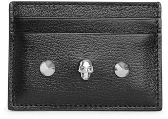 Alexander McQueen Black skull and stud card holder