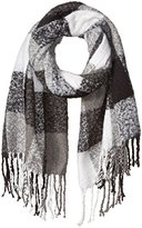 D&Y Women's Muted Plaid Blanket Scarf with Fringe Trim