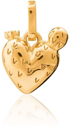 Tane Exquisitely Detailed Nopal Heart Charm Handmade In 18K Gold