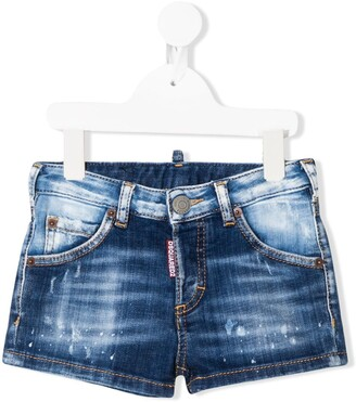 DSQUARED2 Stonewashed-Effect Denim Shorts