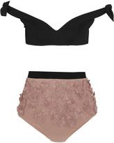 Zimmermann Windsome Posy Appliquéd Bikini - Neutral