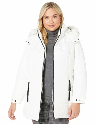 INTL d.e.t.a.i.l.s Women's Plus Size Diamond Quilt Puffer Coat with Fashion Faux Fur Trim