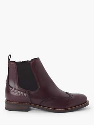 John Lewis & Partners Phoebe Leather Brogue Detail Chelsea Boots, Burgundy
