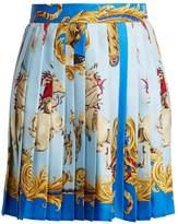 Versace Native American-print pleated silk-twill skirt