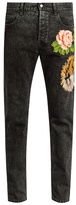 Gucci Floral-embroidered Slim-leg Jeans