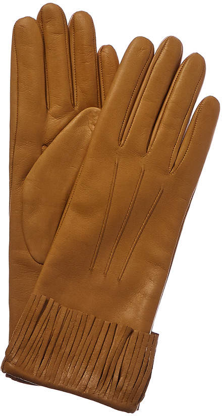 a2c1d3213a3 Women's Golden Sunflower Cashmere-Lined Leather Gloves