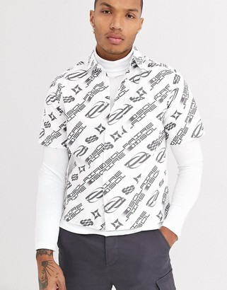 Asos Design DESIGN regular fit shirt with text slogan print in white