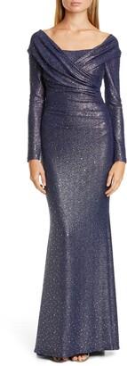Talbot Runhof Sequin Glitter Long Sleeve Mermaid Gown