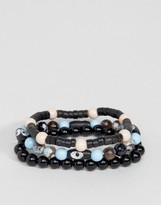 Asos Beaded Bracelet Pack In Black