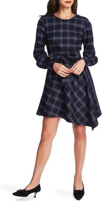 Court & Rowe Soft Plaid Asymmetrical Hem Long Sleeve Dress