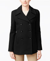 Calvin Klein Petite Wool-Cashmere Blend Double-Breasted Peacoat, Only at Macy's