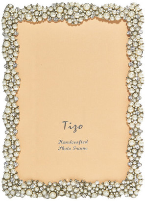 "Tizo Designs Jeweled Photo Frame, Pearl, 8""x10"""