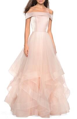 La Femme Off the Shoulder Evening Dress