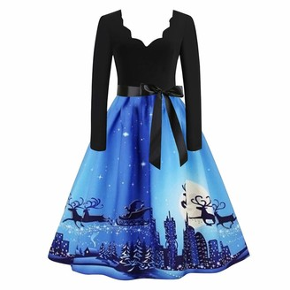 777 Women's Christmas Dresses V-Neck Long Sleeve 50s High Waist Pleated Swing Dress Retro A-Line Cocktail Party Skirt