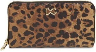 Dolce & Gabbana LEOPARD PRINT LEATHER ZIP-AROUND WALLET