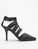 Shakuhachi Strappy Heels Black Python