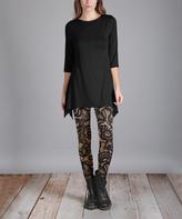 Lily Black Tunic & Beige Leggings - Plus Too