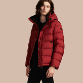 Burberry Down-filled Hooded Jacket With Detachable Sleeves, Red