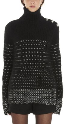 Balmain Contrasting Knit Detail Turtleneck Sweater